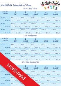 BK Northfield Schedule of fees